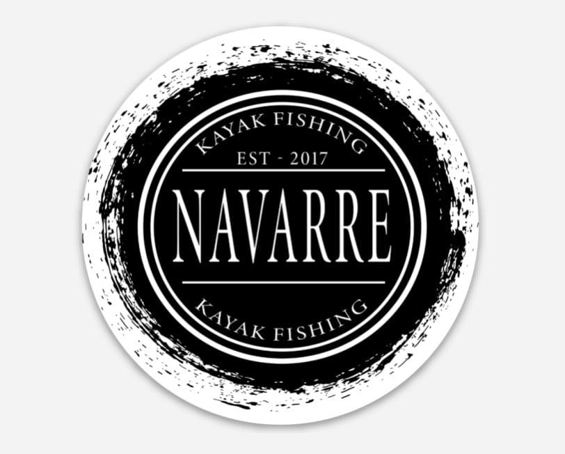 Navarre Kayak Fishing Stamp Bumper Sticker Black